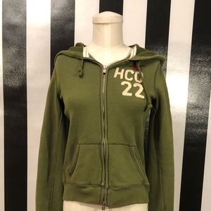 Hollister Olive Green Zip Up Hoodie Medium